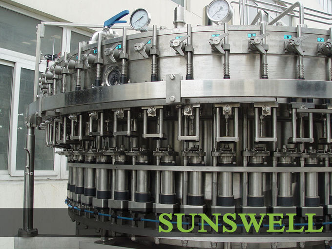 PET Bottle Soft Drink Carbonated Filling Machine , Rotary Washing Filling Capping